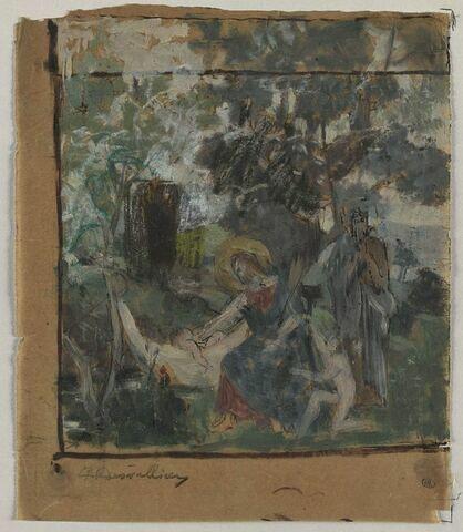 Scène avec un personnage auréolé, assis auprès d'un enfant nu