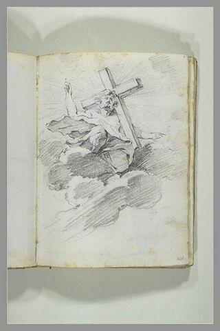 Le Christ vu en raccourci dans les nuées et portant sa croix