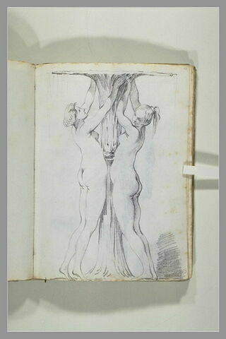 Deux femmes debout, vues de profil, les bras levés, retenant un faisceau...