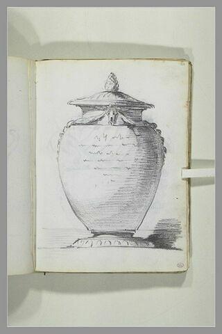 Projet de vase couvert portant une inscription ou une dédicace