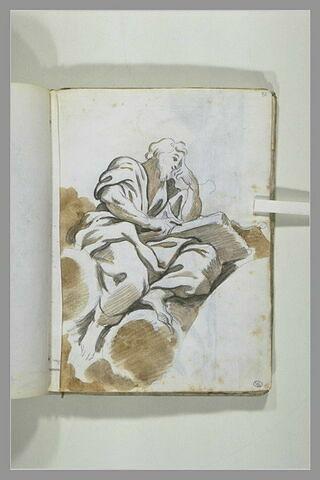 Un Père de l'Eglise, vu de profil à droite, assis dans les nuées et lisant..