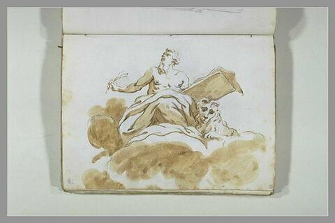 Saint Marc assis sur les nuées, retenant un parchemin sur une planche...
