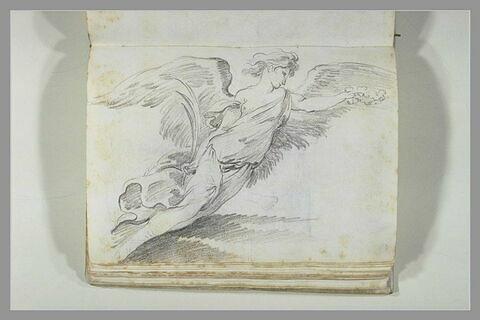 Un ange aux ailes déployées tenant une palme dans la main droite...