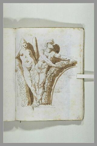 Un homme et une femme nus, vus de face, appuyés sur des arcs de guirlandes..