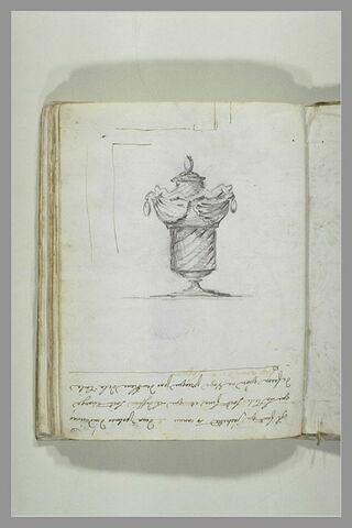 Projet de vase couvert à décor en spirale ; les anses sont formées de deux..