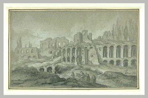 Vue du Palais des Empereurs sur le Mont Palatin à Rome