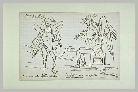 Scène caricaturale avec Pan et Apollon