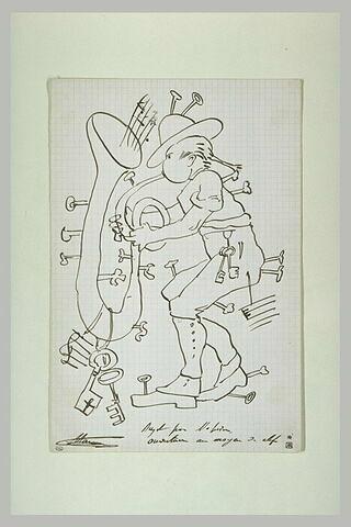 Croquis caricatural : personnage soufflant dans un instrument à vent