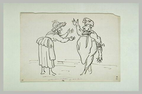 Scène caricaturale : la mère Michel et Lustucru