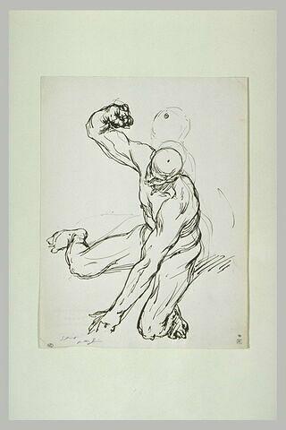Homme nu, gesticulant, le torse tourné vers la gauche
