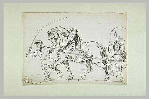 Paysan en sabots guidant un attelage de chevaux