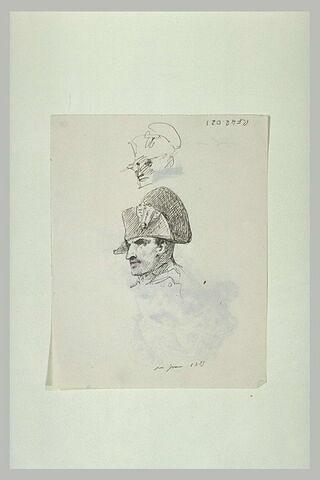 Deux études de la tête de Napoléon avec son bicorne