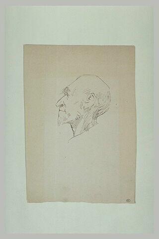 Tête d'homme, au crâne chauve, avec petite barbiche