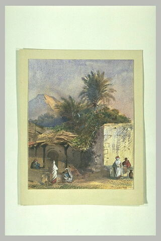 Paysage d'Afrique du Nord avec quelques personnages près d'un lavoir