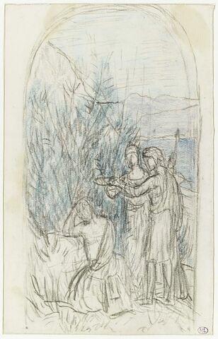 Vieillard assis dans un paysage, couronné par deux figures