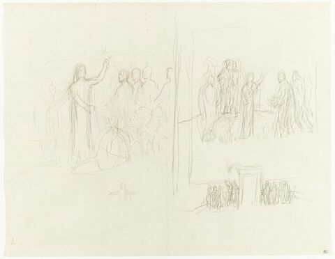 Deux études d'un groupe de figures entourant un personnage le bras gauche...