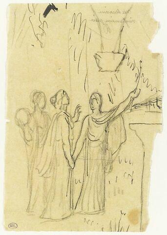Trois personnages drapés, celui de droite élevant un rameau