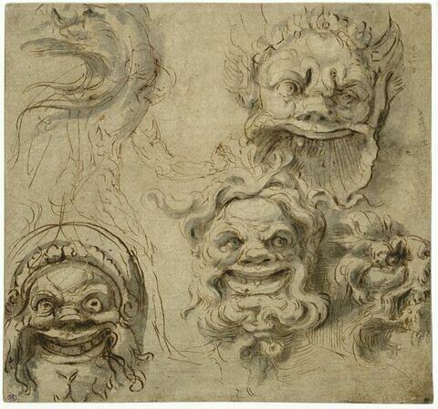 Trois mascarons vus de face, une tête d'aigle et une tête de lion ornementales vues de profil ; un homme nu vu de dos
