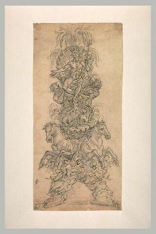 Projet décoratif avec Neptune, deux tritons et deux chevaux marins