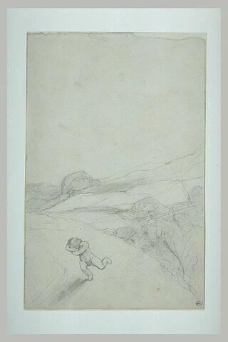 Paysage avec un enfant nu fuyant