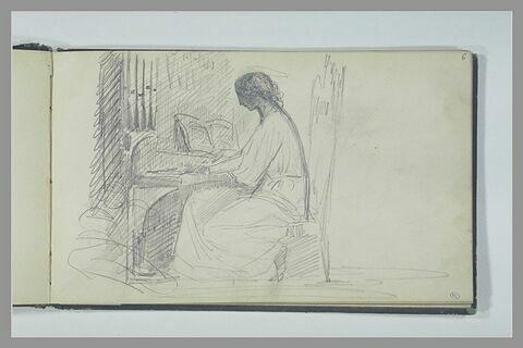 Un saint personnage assis et jouant de l'orgue : sainte Cécile (?)