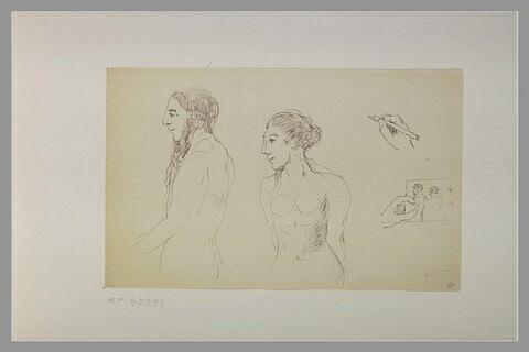 Homme nu debout ; femme nue debout ; mains dont l'une tient un dessin