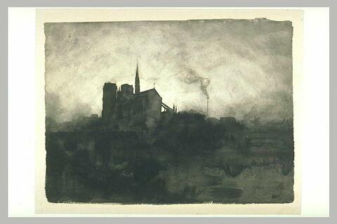 Notre Dame de Paris : le chevet vu du quai de la Tournelle, la nuit