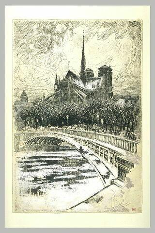 Paris, le chevet de Notre-Dame vu du bras nord de la Seine