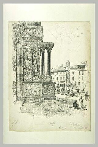 Saint-Gilles, depuis la porte centrale du portail