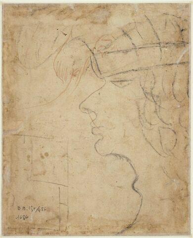 Tête caricaturale de jeune homme de profil, et fragment de plan (?)