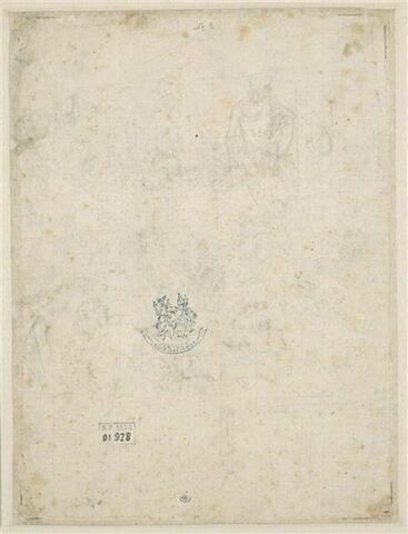Croquis d'un homme nu assis la jambe gauche repliée; deux croquis de colonne
