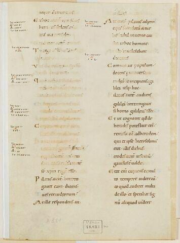 Fragment de l'Évangile selon saint Luc