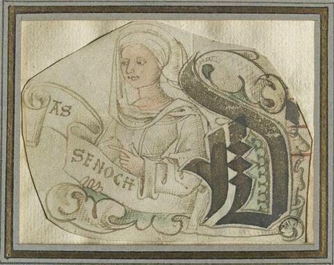 Initiale cadelée D avec personnage féminin en buste (ASSENOCH)