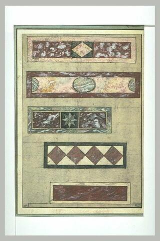 Cinq études de marqueterie de marbre