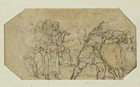 Devant un groupe de personnes, un homme combat un taureau