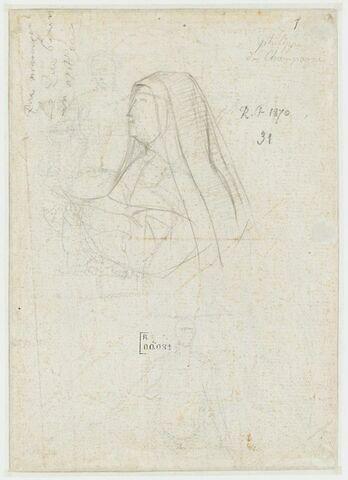 Etude pour le personnage d'Isabelle de France, de profil à gauche