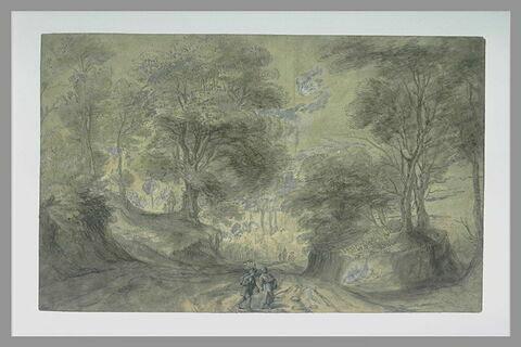 Paysage avec deux personnages sur une route descendant entre des arbres