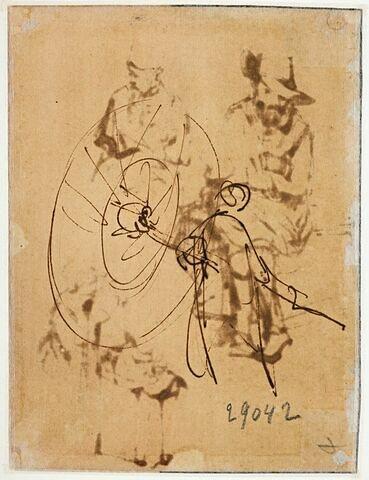 Oriental, debout, tenant un grand parasol incliné