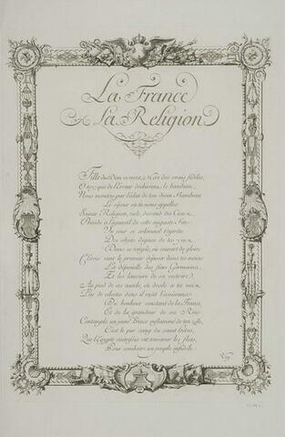 Texte gravé : la France et la Religion