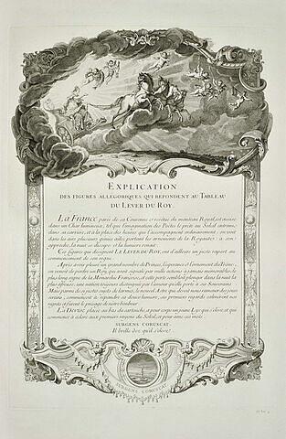 Explication des figures allégoriques du Lever du Roy : texte gravé
