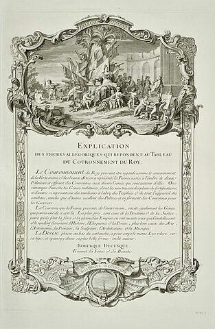 Explication des figures allégoriques du Couronnement du Roy : texte gravé