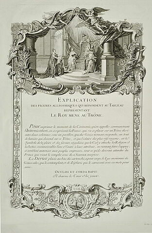 Explication de figures allégoriques du 'Roy mené au trône' : texte gravé
