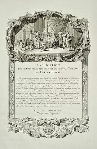 Explication de figures allégoriques du tableau du Festin Royal : texte gravé
