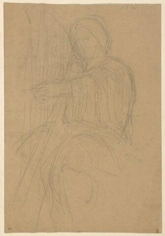 Esquisse de femme jouant de la harpe