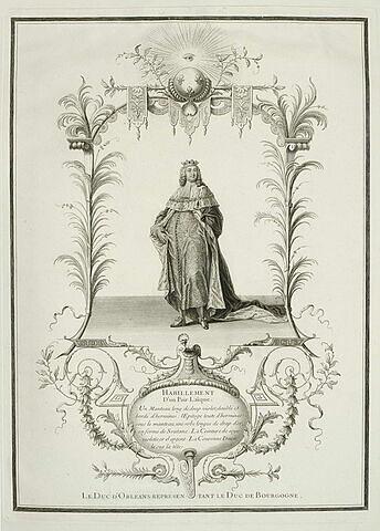 Habillement d'un pair, le Duc d'Orléans représentant le Duc de Bourgogne