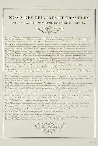 Noms des artistes qui ont travaillé au volume du Sacre de Louis XV : texte