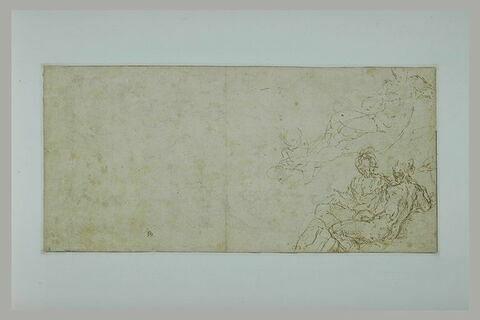 Figure nue tournée vers la droite (Vénus?), putto, couple (Vénus et Mars?)