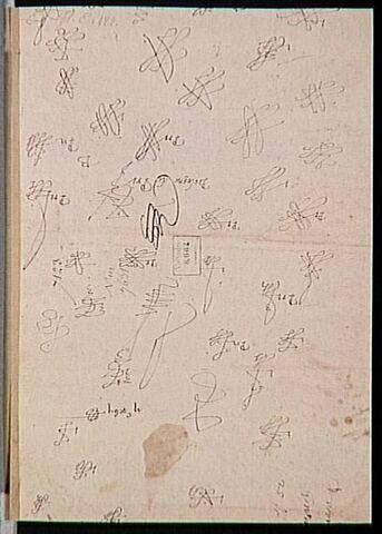 40 essais de monogramme et de signature de 'Bologne de Pri[maticcio]'