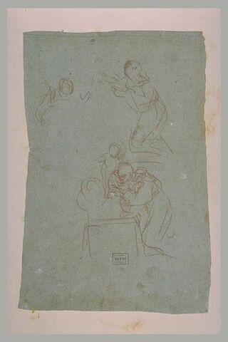 Saint adorant l'Enfant, debout