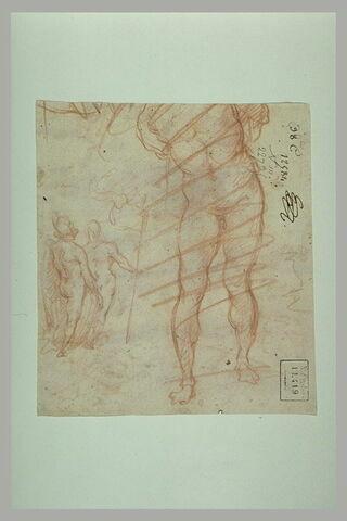 Homme nu attaché : Christ à la colonne (?) ; deux figures nues